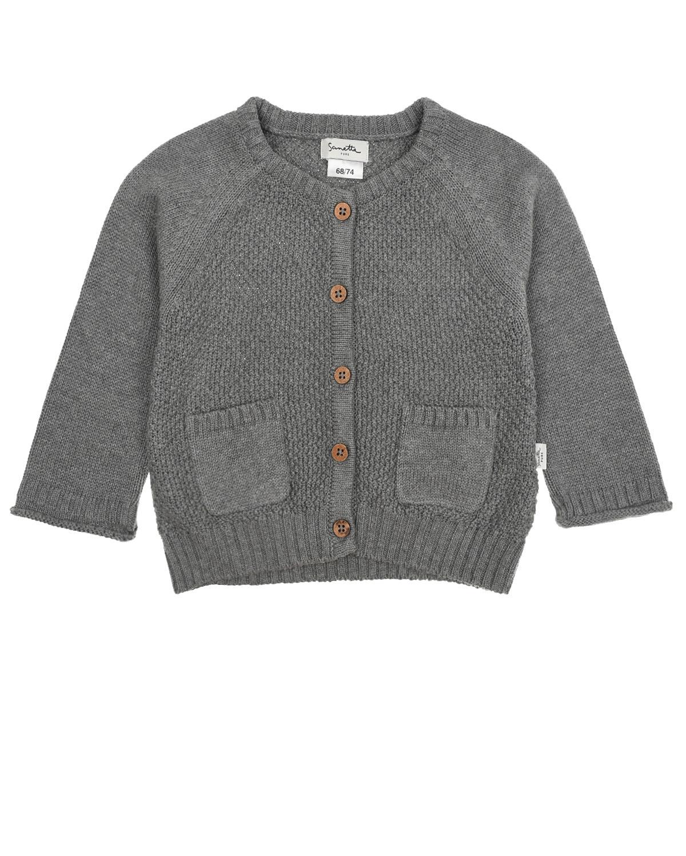 Купить Серый кардиган фактурной вязки Sanetta Pure детский, 80%хлопок+20%шелк