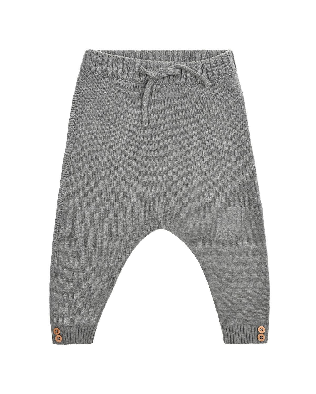 Купить Вязаные брюки с поясом на завязках Sanetta Pure детские, Серый, 80%хлопок+20%шелк