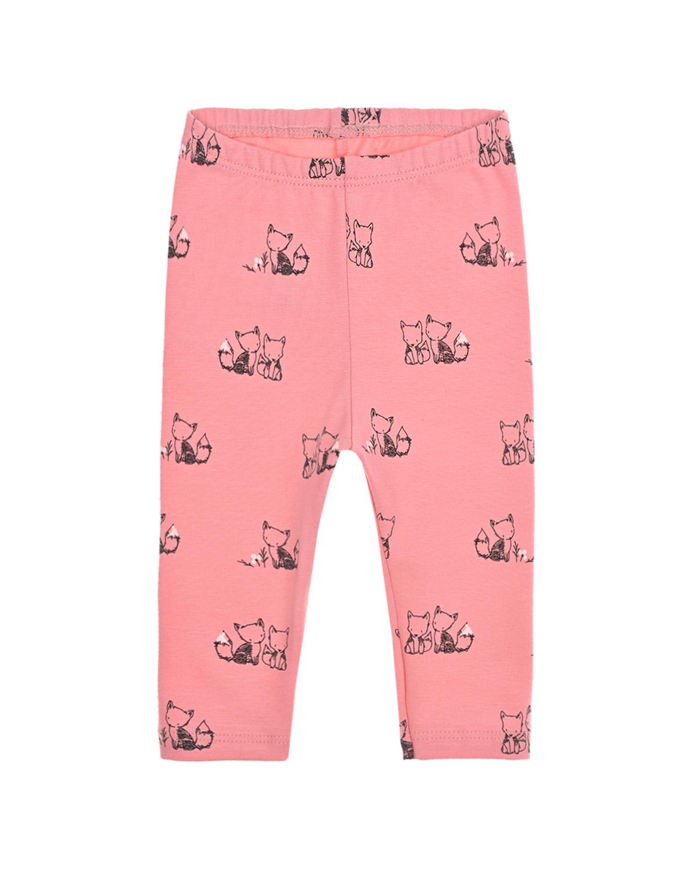 Купить Леггинсы с принтом лисички Sanetta Kidswear детские, Розовый, 95%хлопок+5%эластан
