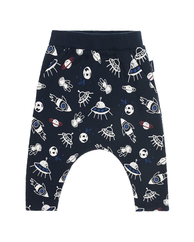 Купить Спортивные брюки с принтом космос Sanetta Kidswear детские, Синий, 95%хлопок+5%эластан