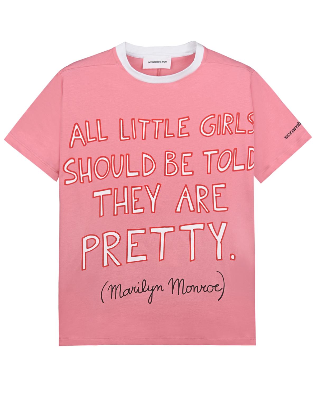 Купить Розовая футболка с надписью Scrambled Ego детская, Розовый, 100%хлопок