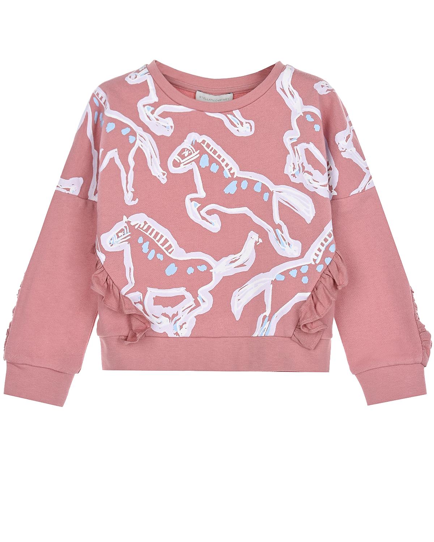 Купить Розовый свитшот с принтом лошади Stella McCartney детский, 100%хлопок, 100%вискоза, 97%хлопок+3%эластан
