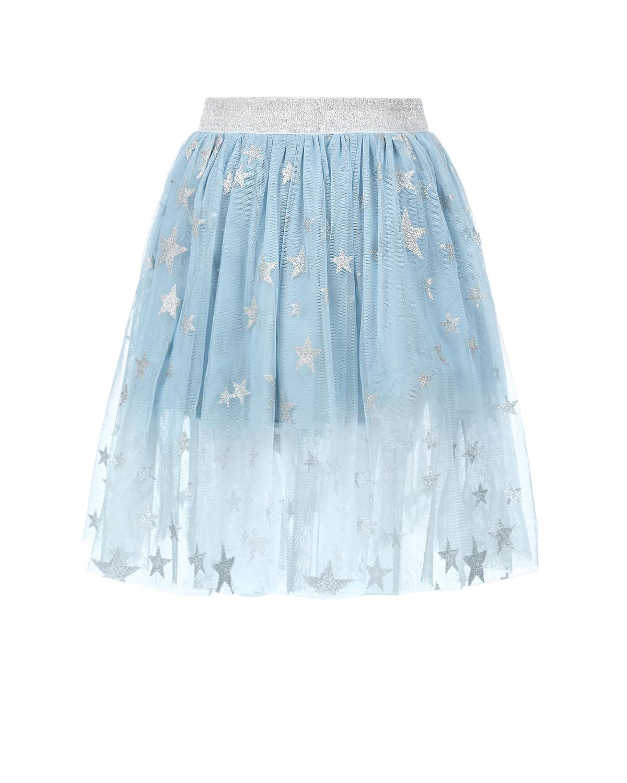 Купить Голубая юбка с принтом звезды Stella McCartney детская, Голубой, 100%полиэстер, 100%хлопок, 54%полиэстер+38%метал.волокно+8%эластан