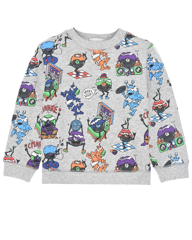 Купить Серый свитшот с принтом монстры Stella McCartney детский, 100%хлопок, 98%хлопок+2%эластан
