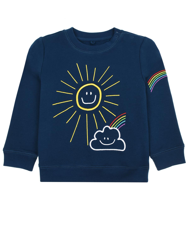 Купить Свитшот с принтом солнце Stella McCartney детский, Синий, 100%хлопок, 100% полиэстер, 98% хлопок+2% эластан