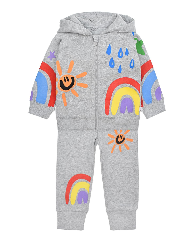 Купить Серый спортивный костюм с принтом радуга Stella McCartney детский, 100%хлопок, 99%хлопок+1%эластан