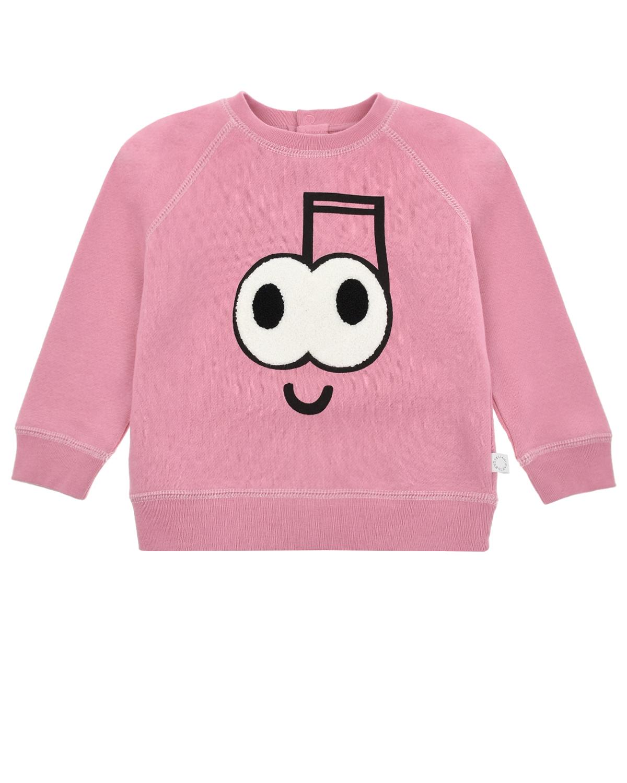 Купить Розовый свитшот с принтом Глаза Stella McCartney детский, 100%хлопок