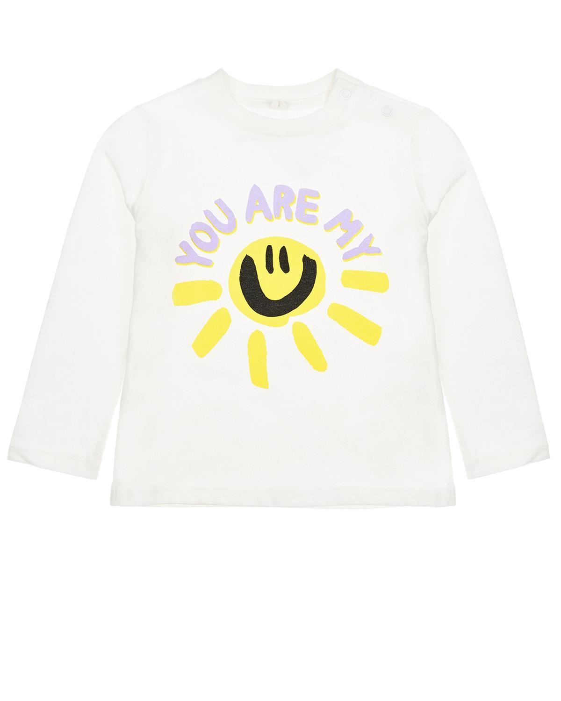Купить Белая толстовка с принтом солнце Stella McCartney детская, Белый, 100%хлопок, 90%хлопок+10%эластан