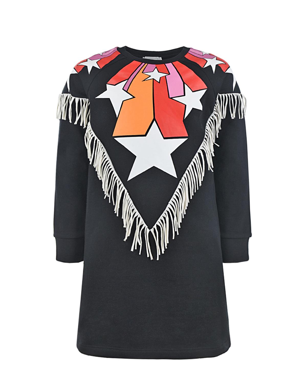 Купить Черное платье с бахромой Stella McCartney детское, Черный, 100%хлопок
