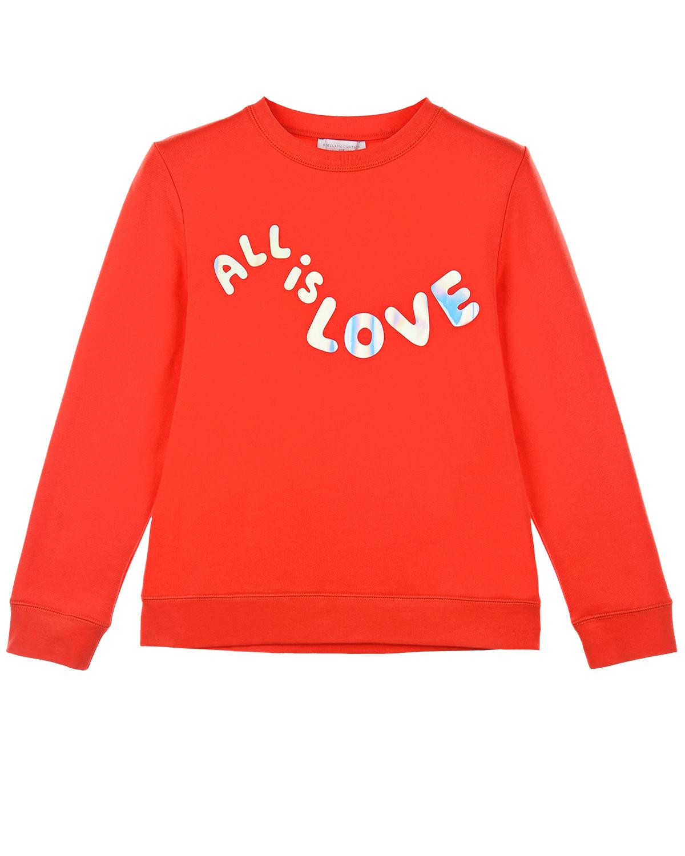 Купить Красный свитшот с принтом All is love Stella McCartney детский, 100%хлопок, 99%хлопок+1%эластан