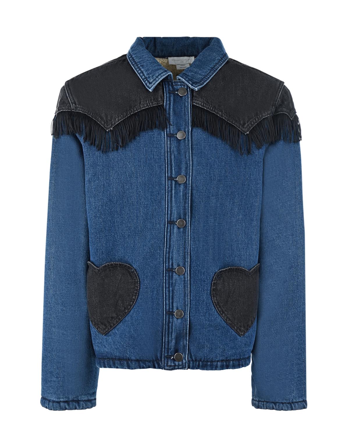 Купить Джинсовая куртка с карманами в форме сердечка Stella McCartney детская, Мультиколор, 100%хлопок, 100%полиэстер. 80%полиэстер+20%хлопок
