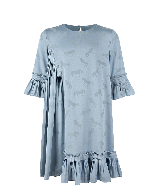 Купить Голубое платье с плиссированной деталью Stella McCartney детское, Голубой, 57%полиэстер+43%вискоза, 100%вискоза