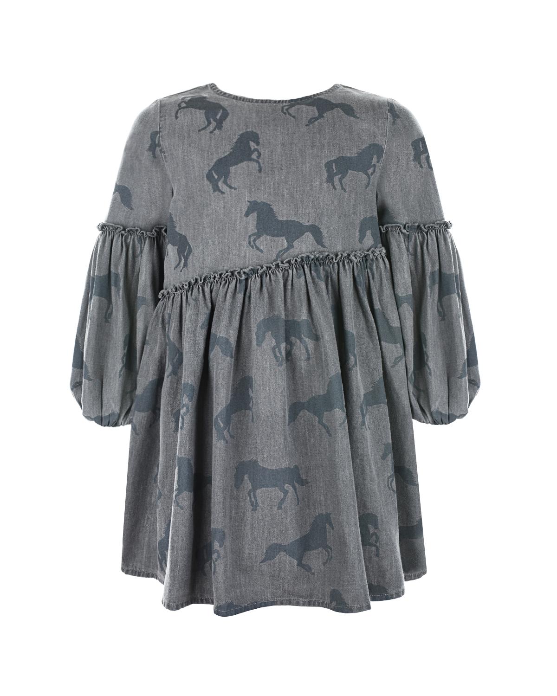 Купить Серое платье с принтом Лошади Stella McCartney детское, Серый, 100%хлопок