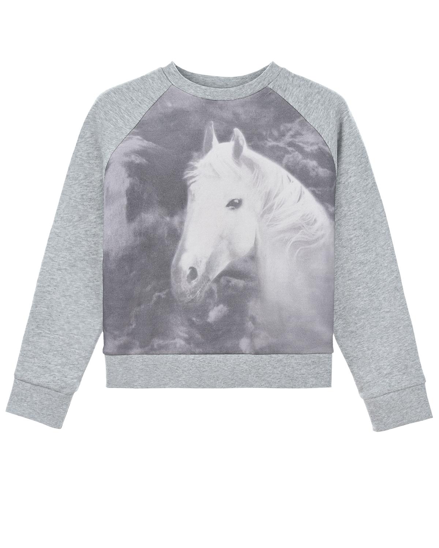 Купить Серый свитшот с принтом лошадь Stella McCartney детский, 100%хлопок, 99%хлопок+1%эластан