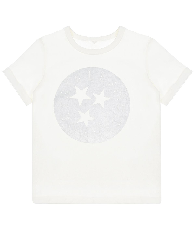 Купить Белая футболка с принтом звезды Stella McCartney детская, Белый, 100%хлопок, 90%хлопок+10%эластан