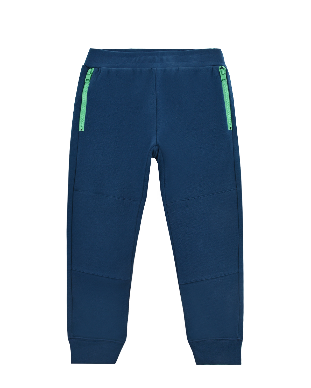 Купить Спортивные брюки с зелеными молниями на карманах Stella McCartney детские, Синий, 100%хлопок, 98%хлопок+2%эластан