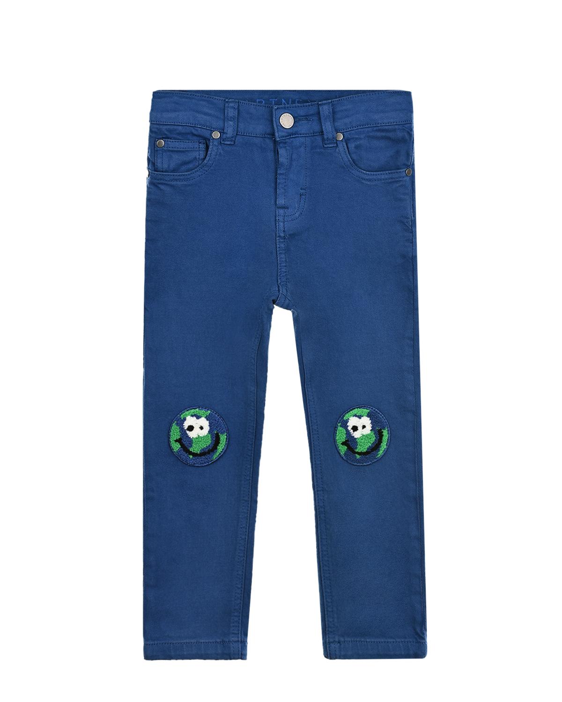 Купить Синие джинсы с патчами на коленях Stella McCartney детские, Синий, 98%хлопок+2%эластан, 100%хлопок