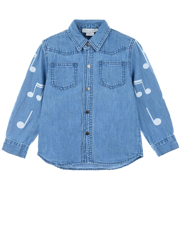 Купить Голубая джинсовая рубашка с принтом ноты Stella McCartney детская, Голубой, 100%хлопок