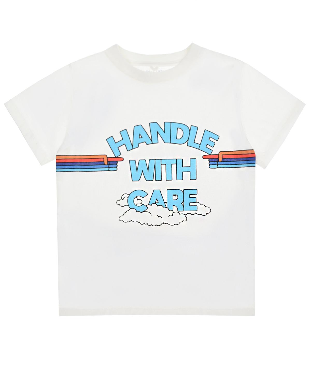 Купить Белая футболка с принтом handle with care Stella McCartney детская, Белый, 100%хлопок, 90%хлопок+10%эластан