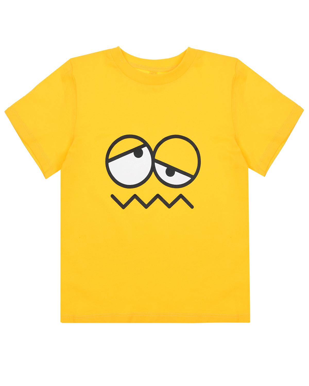 Купить Желтая футболка с принтом смайл Stella McCartney детская, Желтый, 100%хлопок, 90%хлопок+10%эластан