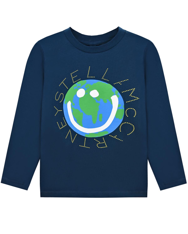 Купить Синяя толстовка с принтом смайл-земной шар Stella McCartney детская, Синий, 100%хлопок