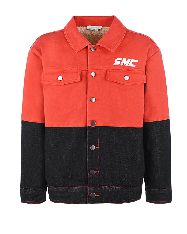 Купить Двухцветная куртка из денима Stella McCartney детская, Мультиколор, 98%хлопок+2%эластан, 100%хлопок, 100%полиэстер, 80%полиэстер+20%хлопок