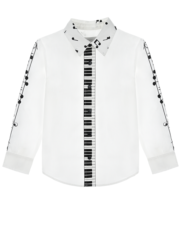 Купить Белая рубашка с принтом ноты Stella McCartney детская, Белый, 62%хлопок+35%полиамид+3%эластан