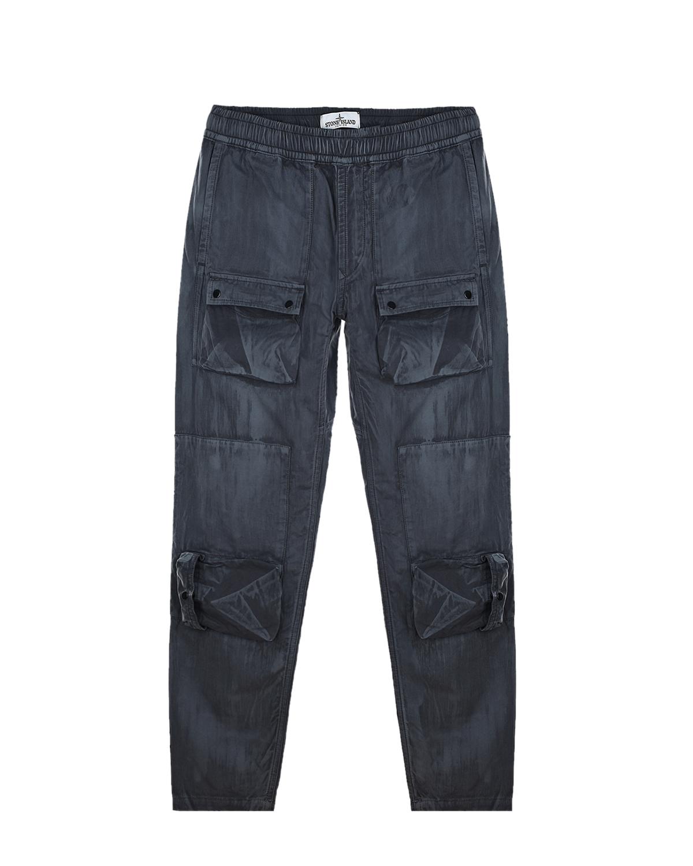 Темно-серые брюки с накладными карманами Stone Island детское.