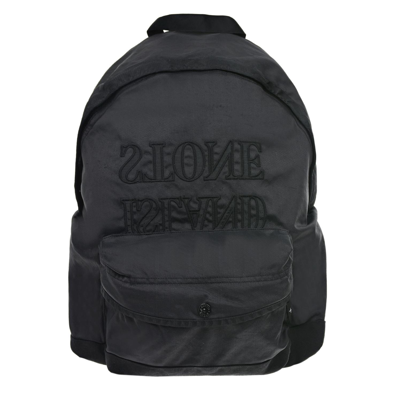 Купить Черный рюкзак с логотипом 44х30х14 см Stone Island детский, 100%полиамид, 100%полиуретан, 100%полиэстер
