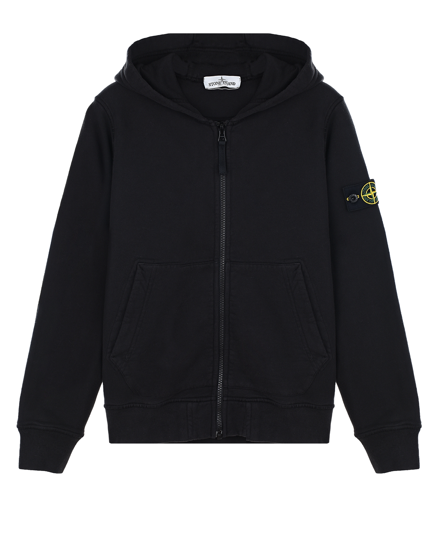 Черная спортивная куртка с капюшоном Stone Island детская.