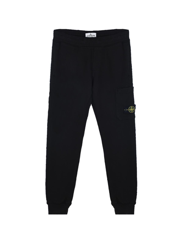 Черные спортивные брюки с накладным карманом Stone Island детские.