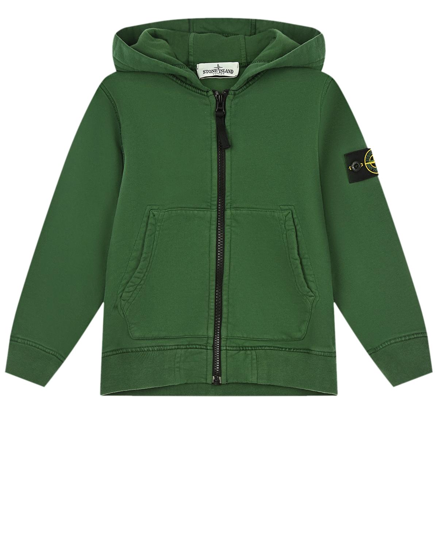Зеленая спортивная куртка с капюшоном Stone Island детская.
