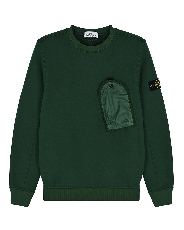 Зеленый свитшот с накладным карманом Stone Island детский.