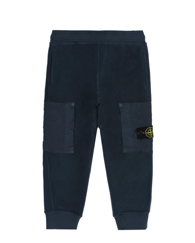 Синие спортивные брюки с накладными карманами Stone Island детские.