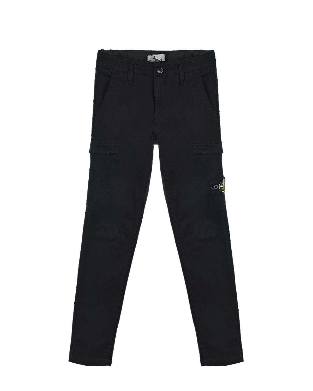 Черные брюки с карманами карго Stone Island детские.