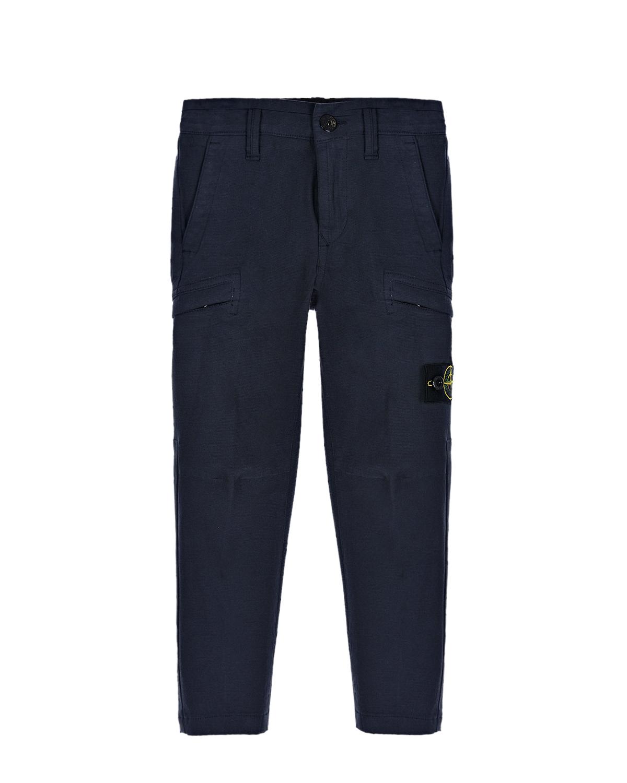 Синие брюки с карманами карго Stone Island детские.