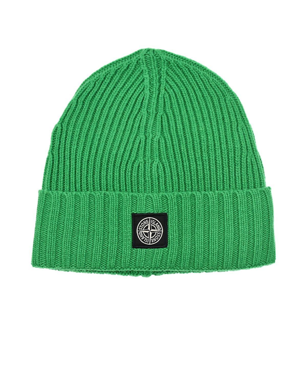 Зеленая шапка с логотипом Stone Island детская.
