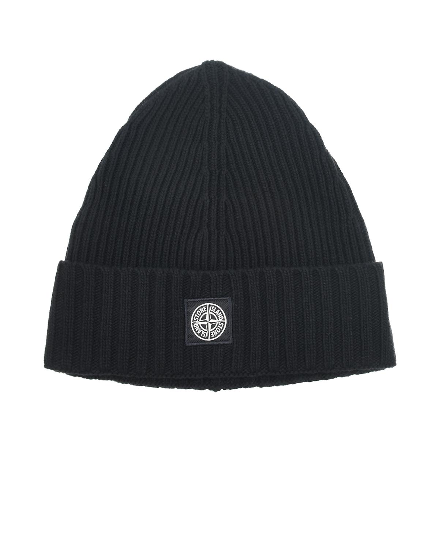 Черная шапка из шерсти с отделкой в рубчик Stone Island детская.
