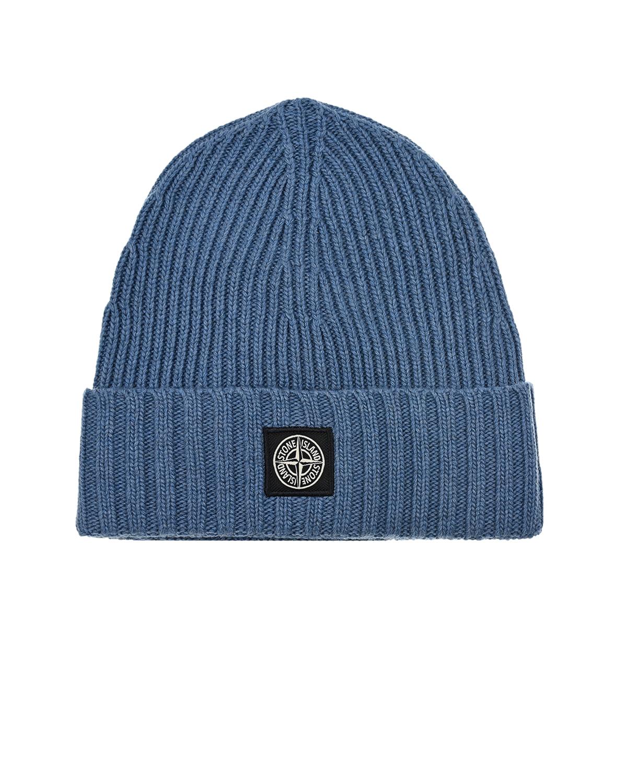 Синяя шапка с логотипом Stone Island детская.