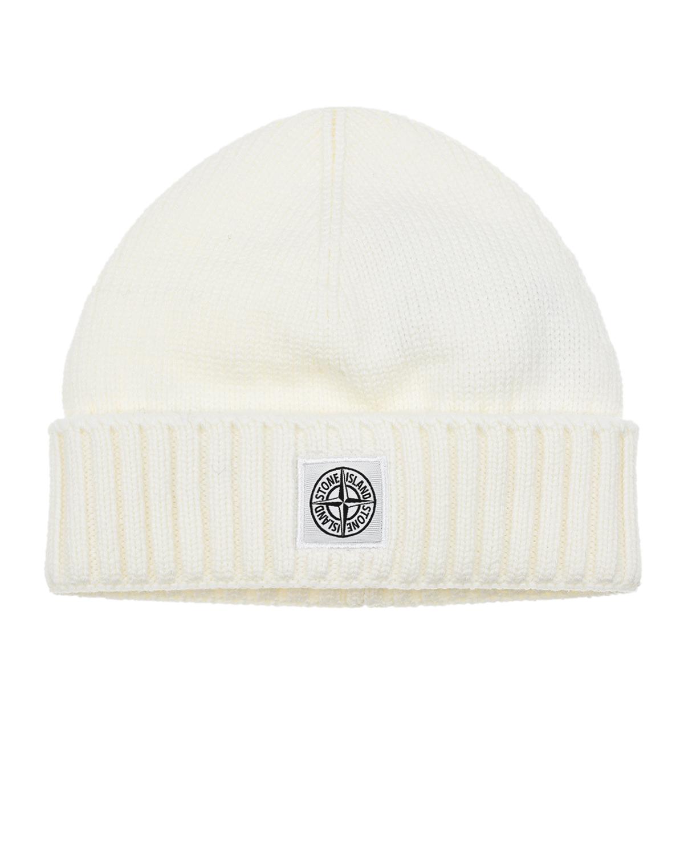 Белая шапка с логотипом Stone Island детская.