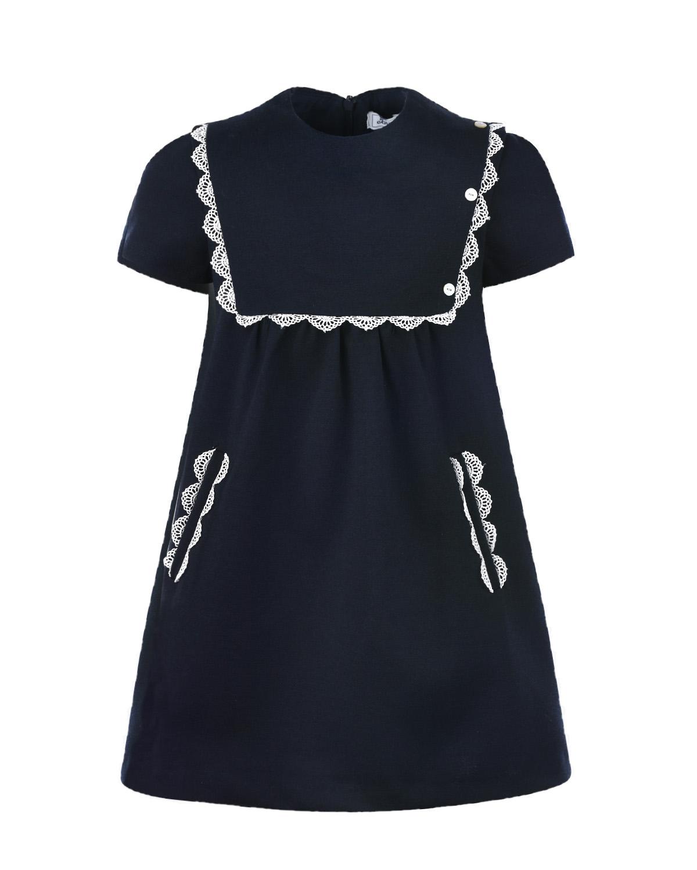 Купить Темно-синее платье с белыми кружевами Tartine et Chocolat детское, Синий, 70%полиэстер+25%вискоза+5%эластан, 100%хлопок