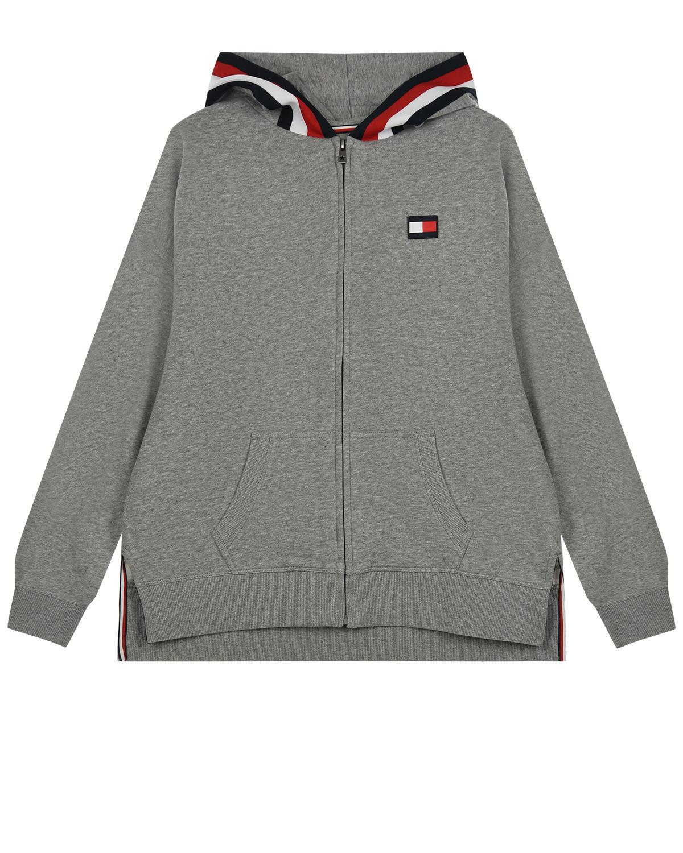 Купить Серая спортивная куртка с капюшоном Tommy Hilfiger детская, Серый, 60%хлопок+40%полиэстер, 100%хлопок, 95%хлопок+5%эластан, 98%полиэстер+2%эластан