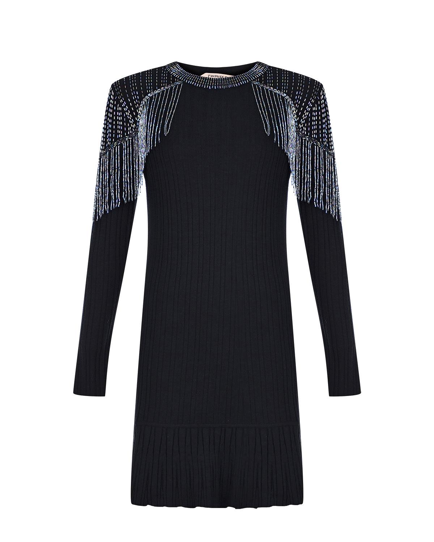 Черное платье с вышивкой бисером TWINSET, Черный, 55% вискоза+45% полиамид, 100% хлопок  - купить со скидкой