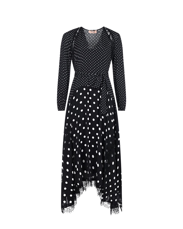 Купить Черное асимметричное платье в горошек TWINSET, Черный, 100%вискоза, 100%полиамид, 100%полиэстер, 100%перламутр