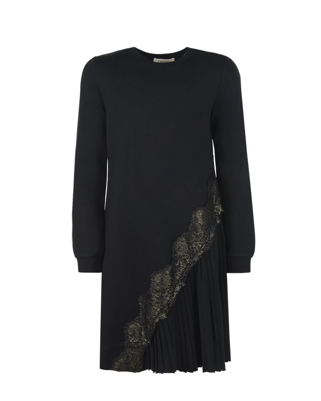 Купить Черное платье с асимметричной юбкой TWINSET детское, Черный, 65% вискоза+31% полиамид+4% эластан, 100% полиэстер, 100% полиамид
