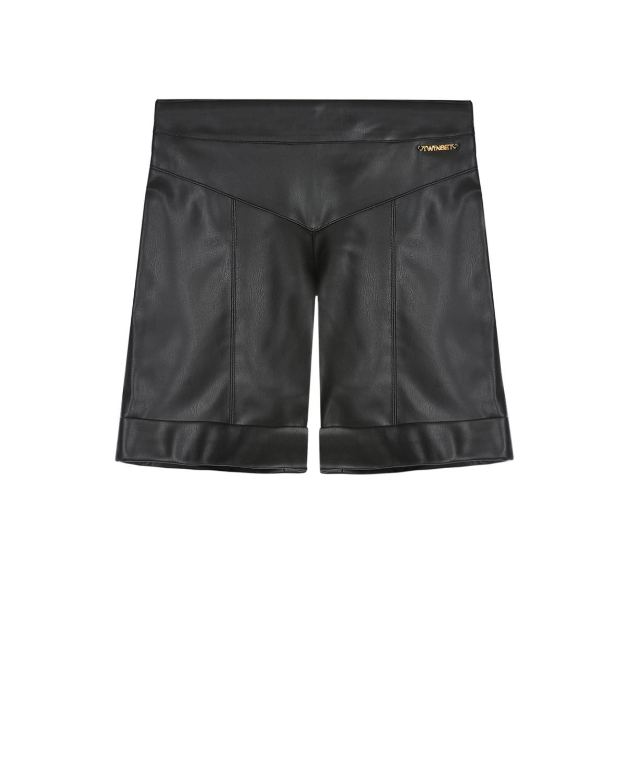 Купить Черные шорты из эко-кожи TWINSET детские, Черный, 100%полиэстер, 68%вискоза+28%полиамид+4%эластан