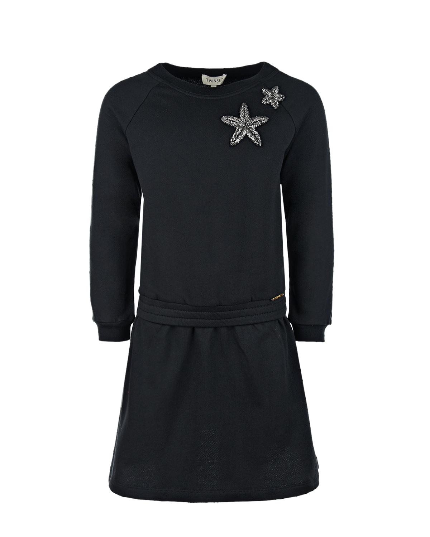 Купить Черное платье с вышивкой стеклярусом TWINSET детское, Черный, 100% хлопок, 95% хлопок+5% эластан, 100% полиэстер