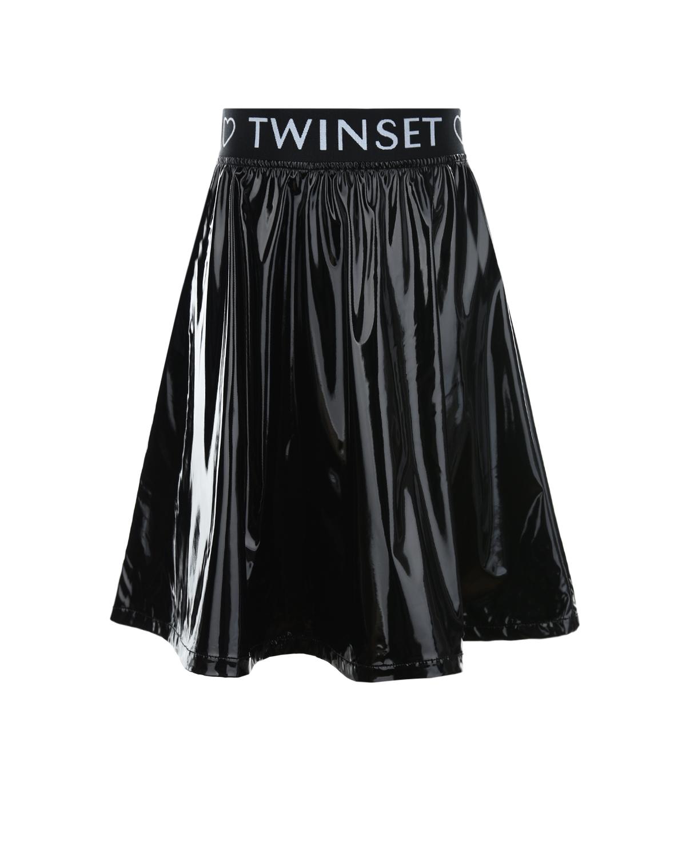 Купить Черная юбка с логотипом TWINSET детская, Черный, 100% полиэстер, 85% полиэстер+15% эластан