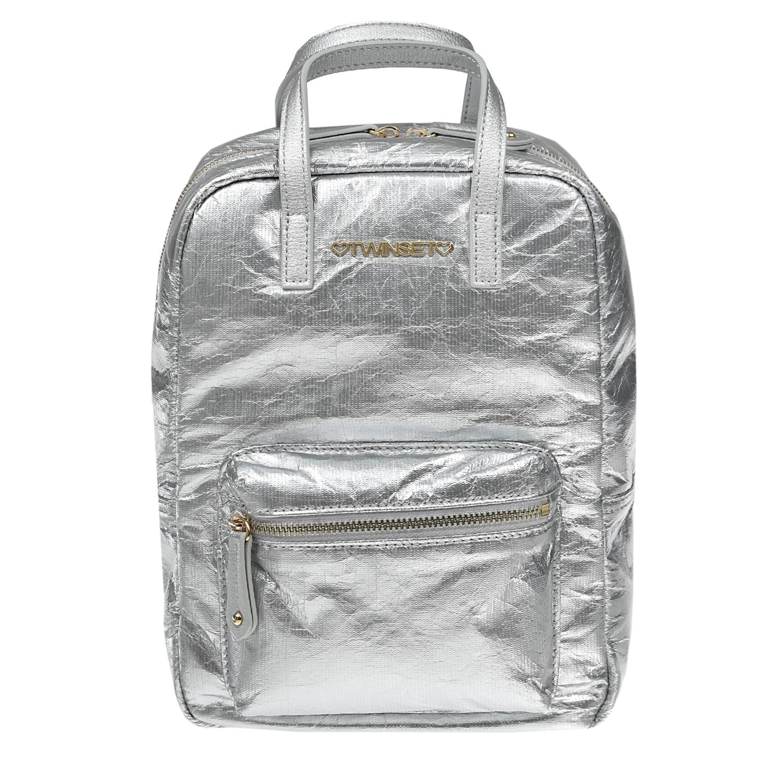Купить Серебристый рюкзак, 27x20x12 см TWINSET детский, Нет цвета, 55%полиуретан+45% полиэстер, 100% полиуретан, 100% полиэстер