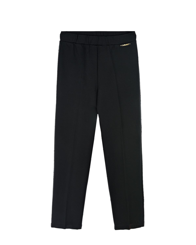 Купить Черные базовые брюки TWINSET детские, Черный, 68% вискоза+27% полиамид+5% эластан